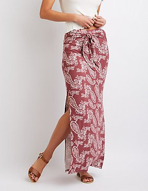 Paisley Print Tie-Front Maxi Skirt