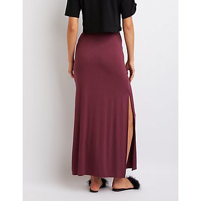 Jersey Knit Tie-Front Maxi Skirt