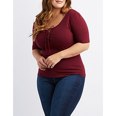 Plus Size Lace-Up Tee