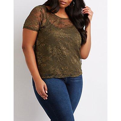 Plus Size Floral Lace Top