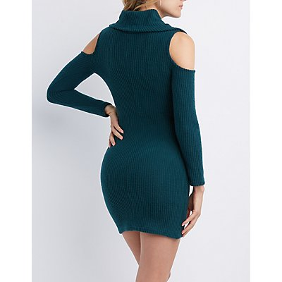 Cowl Neck Cold Shoulder Knit Dress
