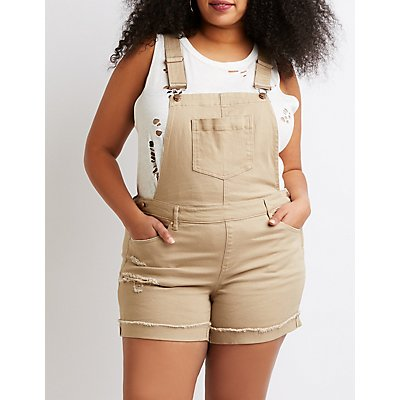 Plus Size Dollhouse Roll Hem Denim Shortalls