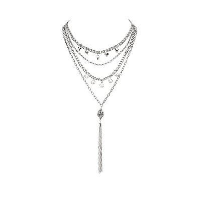 Crystal Layered Chain Necklaces
