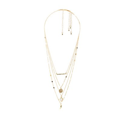 Horn & Bar Pendant Layering Necklaces