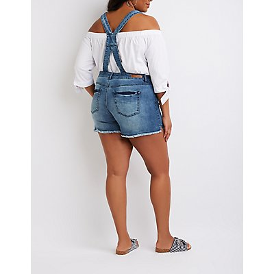 Plus Size Dollhouse Destroyed Shortalls