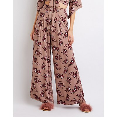 Floral Wide Leg Palazzo Pants