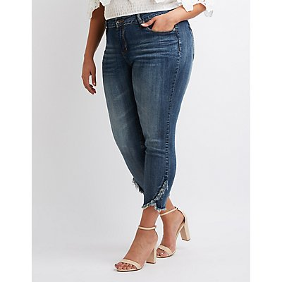 Plus Size Dollhouse Frayed Hem Skinny Jeans