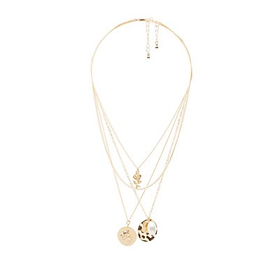 Faux Pearl & Floral Pendant Layering Necklaces