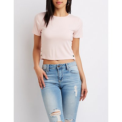 Button Embellished Ribbed Knit Crop Tee