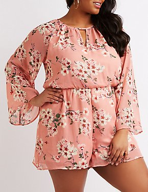 Plus Size Floral Keyhole Bell Sleeve Romper