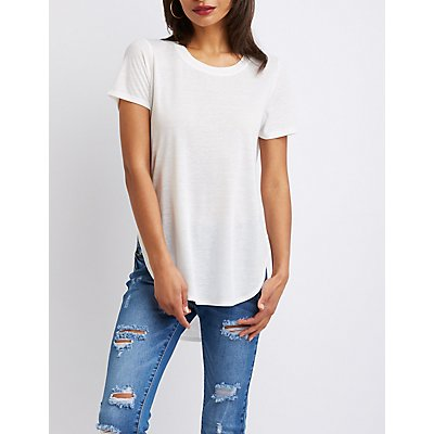 Scoop Neck Curved Hem Tee