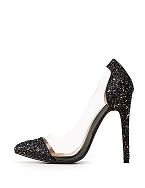 Clear & Glitter Pointed Toe Pumps