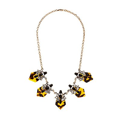 Crystal & Tortoise Bib Necklace