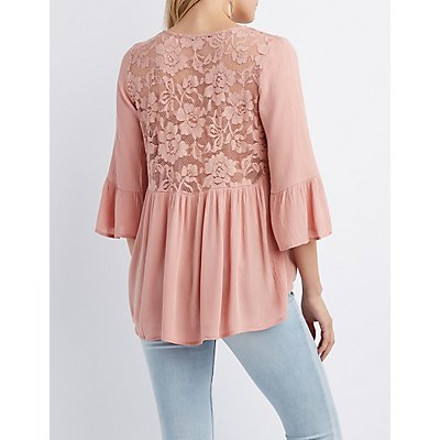 Lace-Trim Bell Sleeve Top