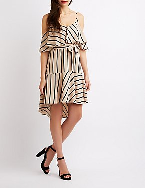 Striped Cold Shoulder High-Low Dress