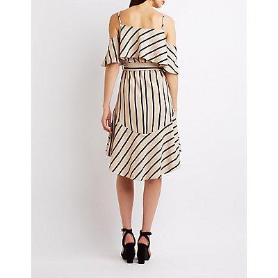 Striped Cold Shoulder High-Low Dress
