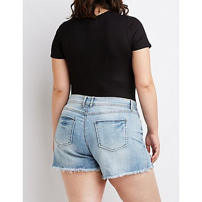 Plus Size Dollhouse Frayed Denim Shorts