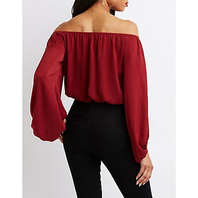Balloon Sleeve Off-The-Shoulder Top