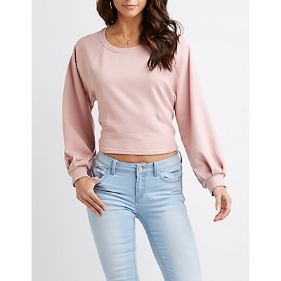 Balloon Sleeve Tie-Back Crop Sweater