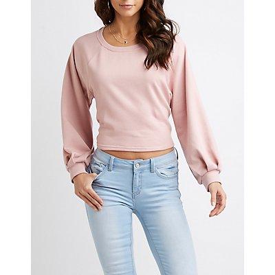 Balloon Sleeve Tie-Back Crop Sweater