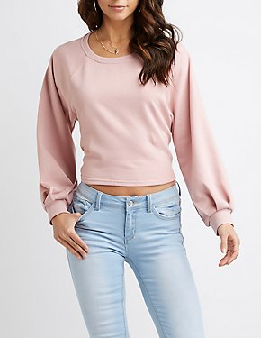 Balloon Sleeve Tie-Back Cropped Sweater