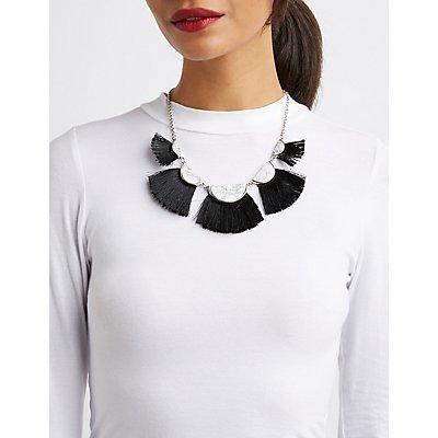Marble & Fringe Bib Necklace
