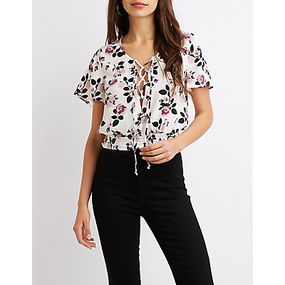 Floral Lace-Up Top