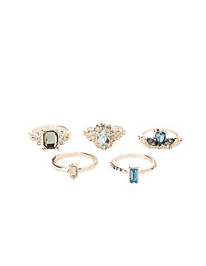 Embellished Stackable Cocktail Rings - 5 Pack