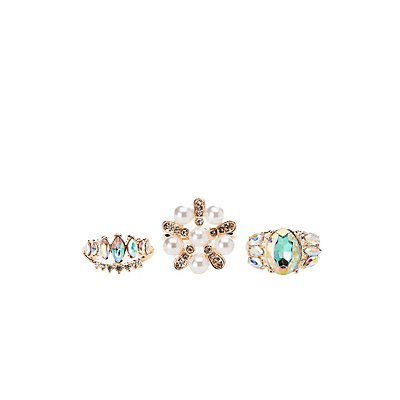 Embellished Stackable Cocktail Rings - 3 Pack