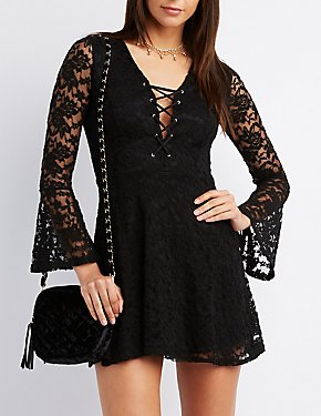 Lace Lattice-Front Skater Dress