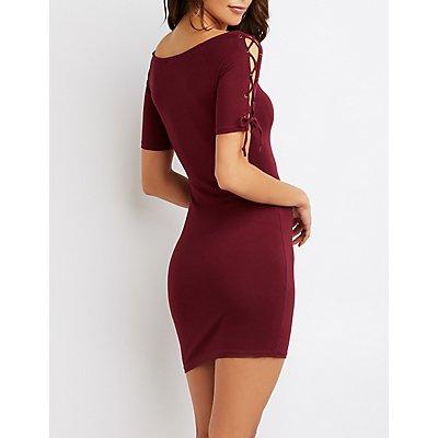 Lace-Up Cold Shoulder Bodycon Dress