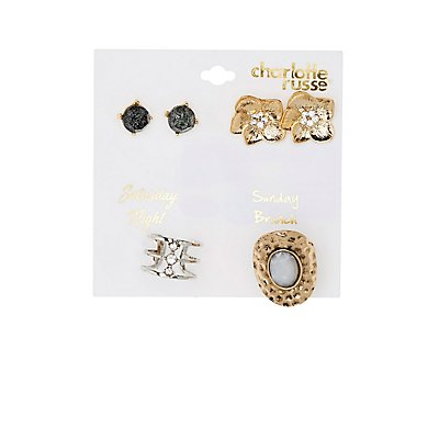 Stud Earrings & Caged Rings Set