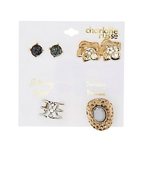 Stud Earrings & Caged Rings Set