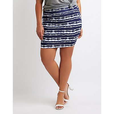 Plus Size Tie Dye Bodycon Mini Skirt