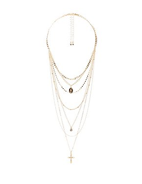 Cross & Crystal Pendant Layering Necklaces