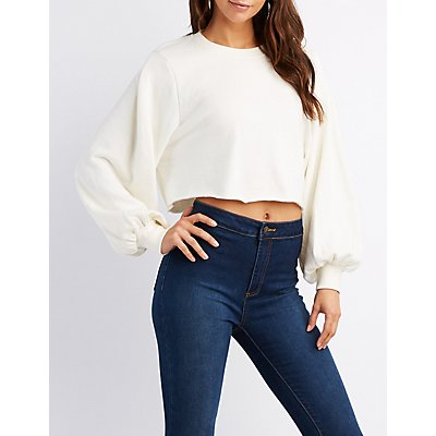Balloon Sleeve Cropped Sweater