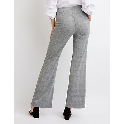 Plaid O-Ring Flared Pants