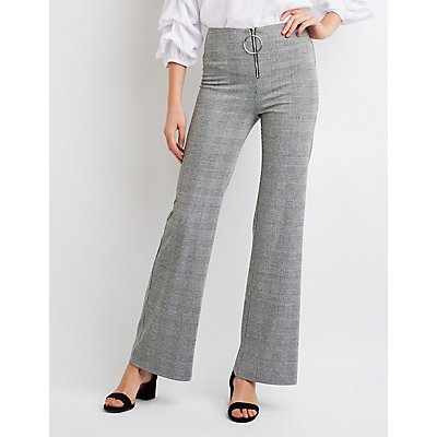 Plaid O-Ring Flared Pants
