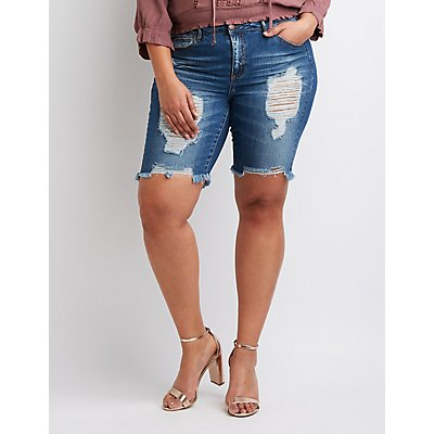 Plus Size Refuge Destroyed Bermuda Shorts