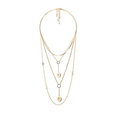 Crystal Oval Pendant Layering Necklaces