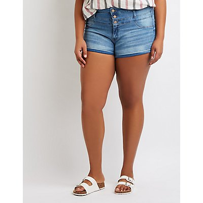 Plus Size Refuge Hi-Waist Shortie Denim Shorts