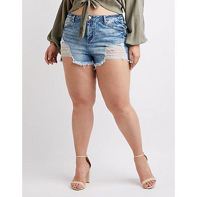 Plus Size Refuge Destroyed Hi-Rise Cheeky Denim Shorts