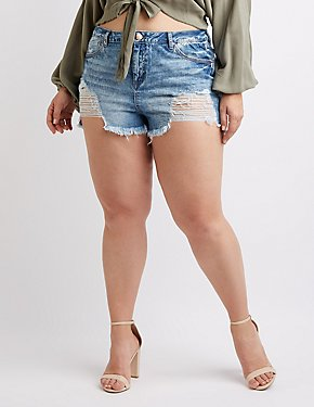 Plus Size Refuge Destroyed Hi-Rise Cheeky Denim Shorts