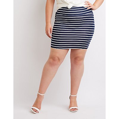 Plus Size Striped Mini Bodycon Skirt