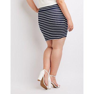 Plus Size Striped Mini Bodycon Skirt