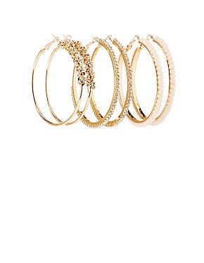 Crystal & Bead Hoop Earrings - 3 Pack