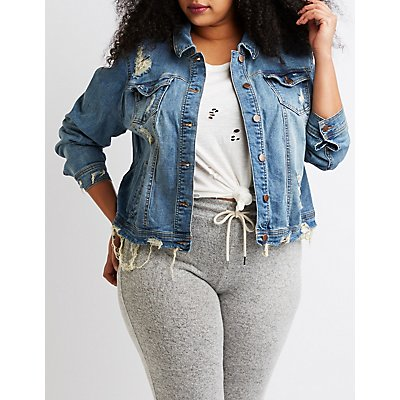 Plus Size Dollhouse Destroyed Denim Jacket