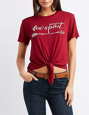 Free Spirit Tie-Front Graphic Tee
