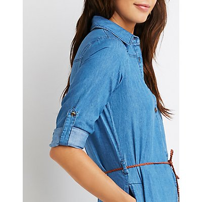 Belted Chambray Shirt Dress