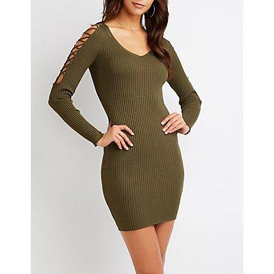 Lattice Cold Shoulder Bodycon Dress